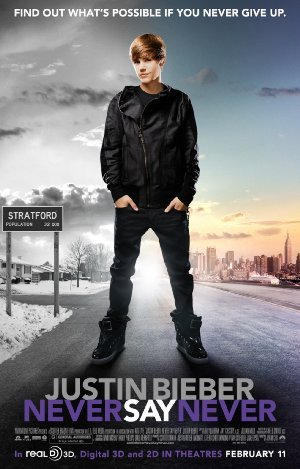Movie poster of Justin Bieber's - Never Say Never